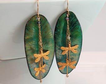 Teal Green Long Leaf Dangle Earrings, Glowing Enamels in Rich Color, Luminous Copper Enamel, Vitreous Enamel Art Jewelry, Artisan Earrings