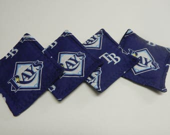 Set of 4 Fabric Drink Coasters MLB Tampa Bay Rays