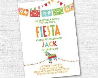 INSTANT DOWNLOAD White Picado Bunting Banner Pinata Fiesta Cinco De Mayo Birthday Invitation