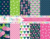 Floral Bloom Digital Paper Pack Commercial Use Digital Scrapbook Paper with Flowers Triangles Crosses Herringbone and Polka Dots