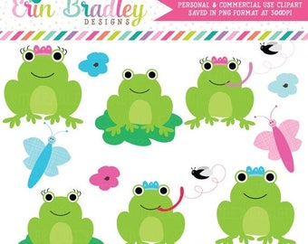 50% OFF SALE Frog Clipart Clip Art Personal & Commercial Use Instant Download