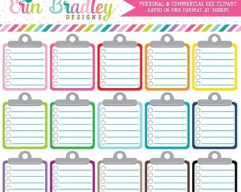 50% OFF SALE Lined Clipboard Clipart Graphics Personal & Commercial Use Note Paper To Do List Clip Art