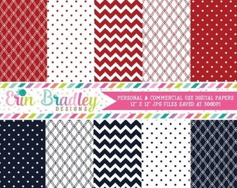 50% OFF SALE Digital Scrapbook Papers Personal and Commercial Use Red and Navy Blue Medley