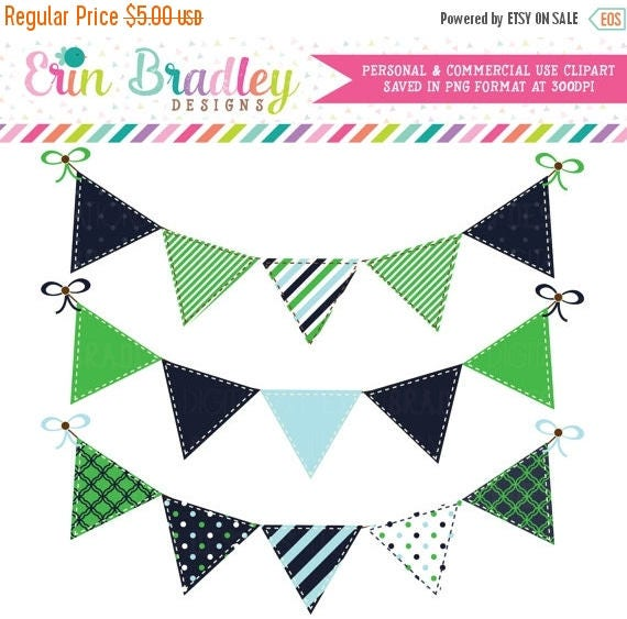 50% OFF SALE Digital Banners Clipart Preppy Blue Kelly Green Bunting Flags Commercial Use Clip Art Graphics