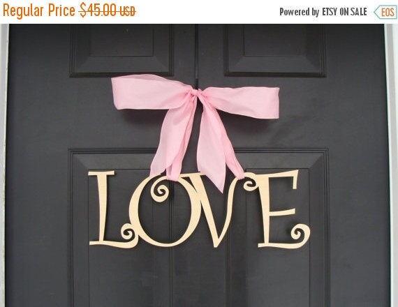 SPRING WREATH SALE Love Wooden Letters, Valentine's Day Decor, Valentine's Day Wreath, Wedding Sign, Wood Sign, Door Decoration, Wedding Dec