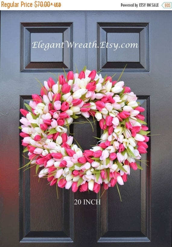 SPRING WREATH SALE Tulips Spring Wreath- Spring Decor-Spring Tulips Wreath, Custom Colors and Sizes- Summer Wreath- The Original Tulip Wreat