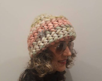 LUXURY Mohair colorful crochet hat 2016 design, very soft Cold Weather Crochet Woman, brooch,  Oatmeal, Chunky mohair