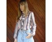 extra 30% off sale . . . Vertical Stripe l/s Secretary Blouse Top - Vintage 70s - S/M