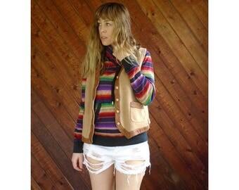 Leather Trimmed Ralph Lauren Sweater Vest - Vintage 90s - S/M
