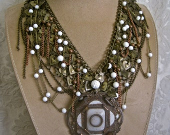 At Milady's Throat: Renaissance Necklace Medieval Vintage Assemblage Chainmaille Hearts Queen Collar Bib Antique Medallion One of a Kind