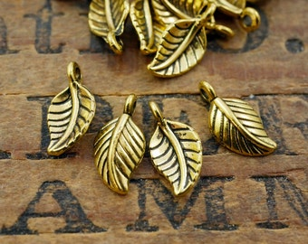 Gold Leaf Charm Double Sided Pewter Leaf Charm (12) P116