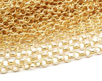 Raw Brass Rolo Chain, Soldered Brass Rolo Chain (5mm) RB 8-29