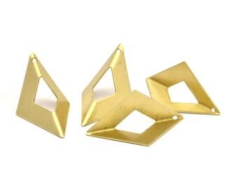 Raw Brass Origami Charms, 6 Raw Brass Geometric Triangle Charms (31mm) U009