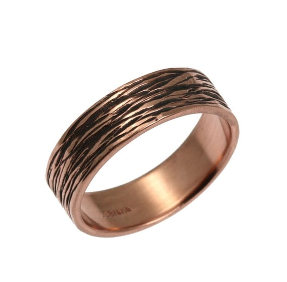 7mm Bark Mens Copper Ring, Copper Wedding Bands, Mens Copper Rings, Bark Copper Ring, Copper Engagement Rings, 7th Wedding Anniversary Gift