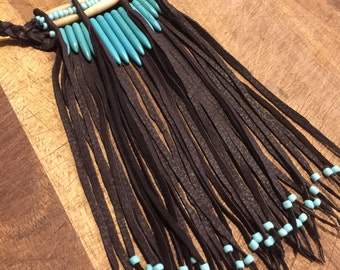 Native American leather fringed choker