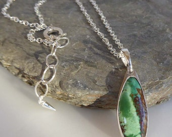 "Green Nevada Turquoise silver pendant 16-18"" trace chain artisan"