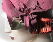 1930's Sculpted Percher with Czech Glass Raspberry Flower