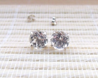 White Topaz Stud Earrings Sterling Silver April Birthstone 8mm