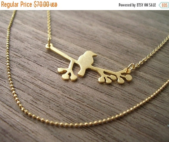 On Sale 40% Off Bird on Branch Necklace - Small, woodland jewelry, holiday gift