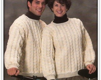 Crochet Aran Cable Sweater PATTERN - Fits Bust 30 to 44 Inches - PDF 70901719B