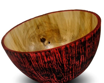 Handmade Home Decor - Wood Bowl - Textured  Maple Wood - Rapture - Red