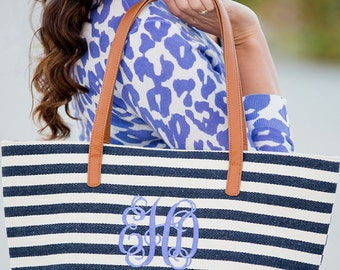 navy striped purse handbag luggage travel accessories monogrammed bag blue BeachHouseDreamsHome Outer Banks