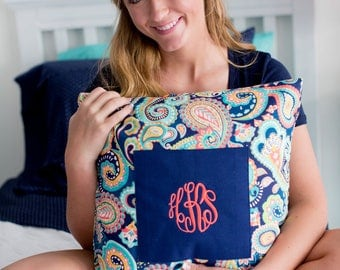 paisley monogrammed pillow embroidered pillow cover navy decor Mothers day summer living room bedroom BeachHouseDreamsHomeOBX Outer Banks