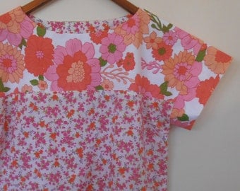 whimsy in pinks...vintage fabric loose fit ladies blouse