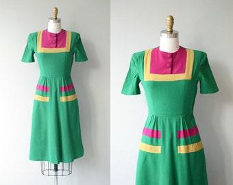Colorblock wool dress | vintage 1930s dress | wool 30s day dress