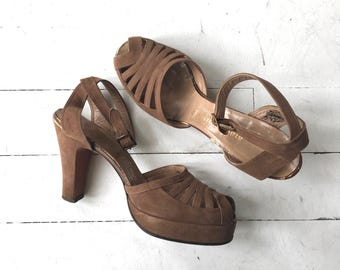 Tallinda peeptoe platforms | vintage 1940s shoes | 40s peeptoe platforms heels 6.5