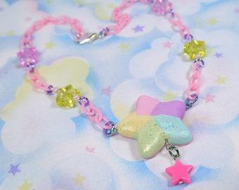 Fairy Kei necklace - Rainbow star glitter charm