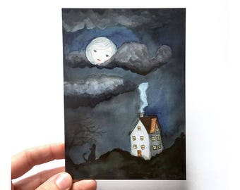 Dreamland - Postcard, watercolor illustration, dreaming of home, moon face, wolf howling, girl loneliness, roots, grounded