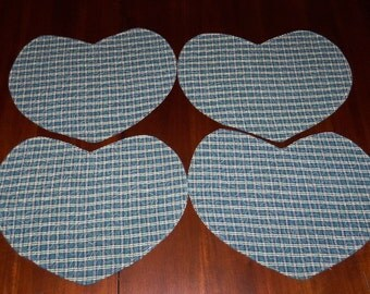 Quilted Placemats, Heart Shaped, Green Plaid Homespun, Set of Four, 13x15 Inches, Dining Table Decor, Machine Quilted