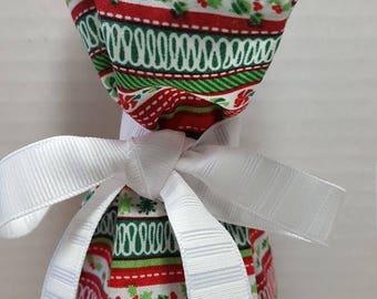ON SALE Christmas Wine Bottle Gift Bag Stripes Varied Prints