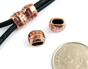 TierraCast Leather Crimp Beads-Copper HAMMERTONE BARREL ID 4X2mm (4)