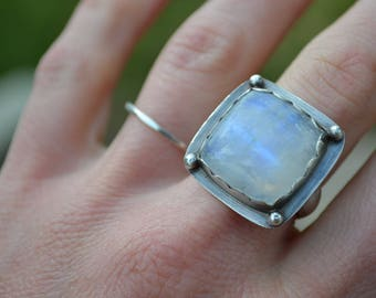Moonstone Hand Fabricated Sterling Silver Ring  Size 8