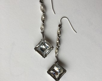 Charcoal Gray Rhinestone Chandelier Statement Earrings- Heirloom Collection