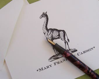 Giraffe Personalized Monogrammed Note Cards  Stationery Stationary African Reticulated Giraffe April Set 10 Zoo Animal Vintage Heraldry Art