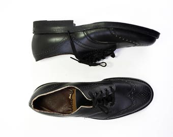 Size 6.5-7: Vintage Campus Youth Black Leather Woman's Flat Slip on Tie Retro Oxford Shoes