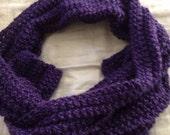 Hand knit vibrant purple knit scarf soft warm pretty girls women ooak