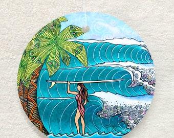 Surfer Girl surf art Glass Ornament & Suncatcher, surfing gifts,palm trees, waves