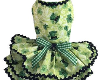 Dog Dress, Dog Harness Dress, Clover Dog Dress, Shamrock Dress for small dog, Dog fashion for Small Dogs, Ready To Ship