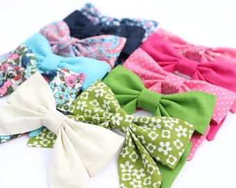 Hair Bows for Girls - 11 Colors Available - Fabric Hair Bows - No Slip Hair Clip or Nylon Headband