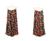 90s SHEER Floral Midi Skirt Red Navy Grape Print Long Spring Skirt High Waist Boho Preppy Revival Festival Skirt Womens Small
