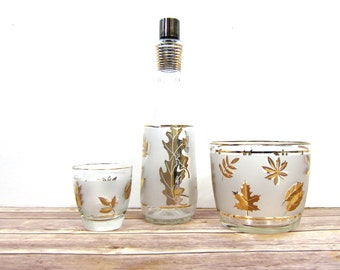 Gold Leaf Bottle Fall Foliage Frosted glass Ice Bucket Retro Mad Men Style Bar Decor Hipster 1960s Mid Century Bar Set