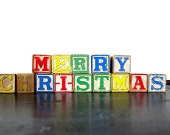 MERRY CHRISTMAS Blocks retro PlaySkool Wooden Block Toys Cottage Chic Holiday Decor