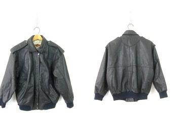 Black Leather Jacket 1980s Biker BOMBER Coat Moto Fliht Club Motorcycle 1980s Vintage Cafe Coat Hipster Retro Coat Size Small