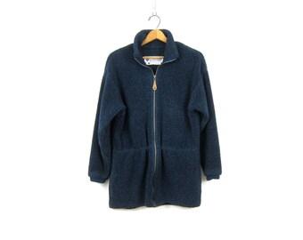 vintage fleece jacket Blue Columbia Sportswear Ski blanket coat Cinch Waist sweater jacket Women's Size Large