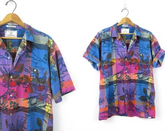 Vintage 80s Resort Print Shirt Button Up Short Sleeve Floral Madras Pocket Tee 1980s Cotton Shirt Summer Top Blue Purple Men's Size Large