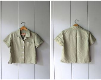 Sage Green Crop Top Rayon Blend Shirt Minimal Button Up Tee Short Sleeve BOXY Tee 90s Modern Preppy Basic Cropped Top Vintage Womens Small